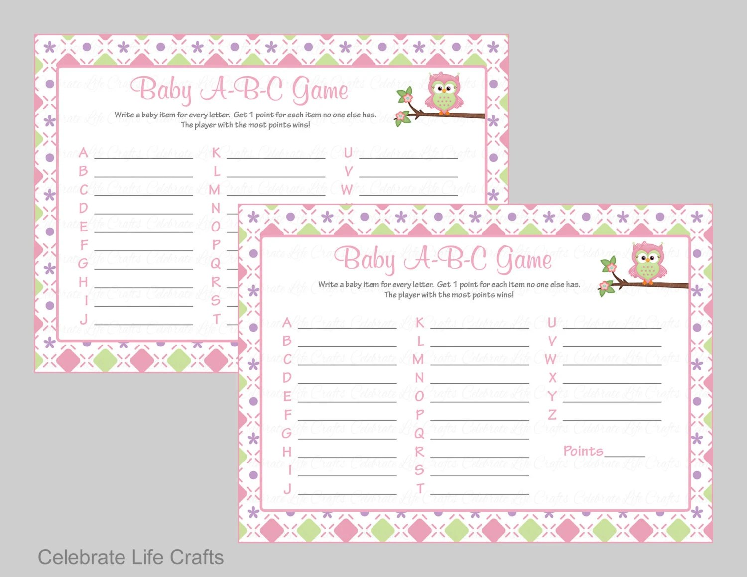 Baby Shower Baby Abc Game Printable Baby Shower Games