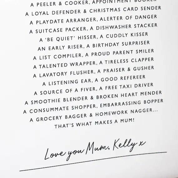 Mama Druck Mama Gedicht Personalisierte Geschenk Fur Mama Etsy
