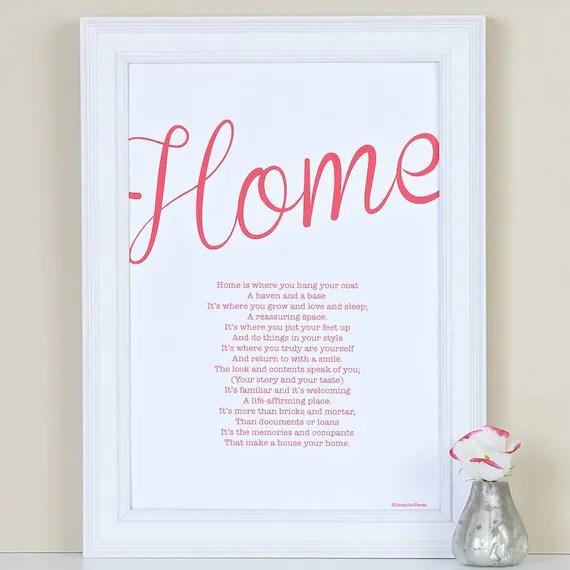 Neue Heimat Geschenk Home Gedicht Print Benutzerdefinierte Etsy