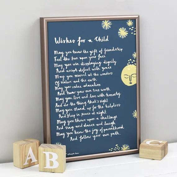 Taufe Geschenk Wunsche Fur Ein Kind Druck Gedicht Fur Ein Etsy