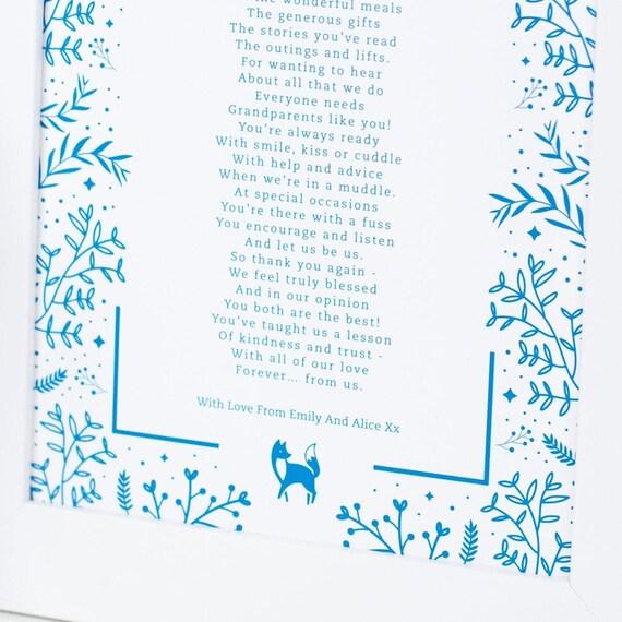 Grosseltern Gedicht Grosseltern Geschenk Grosseltern Gedicht Etsy