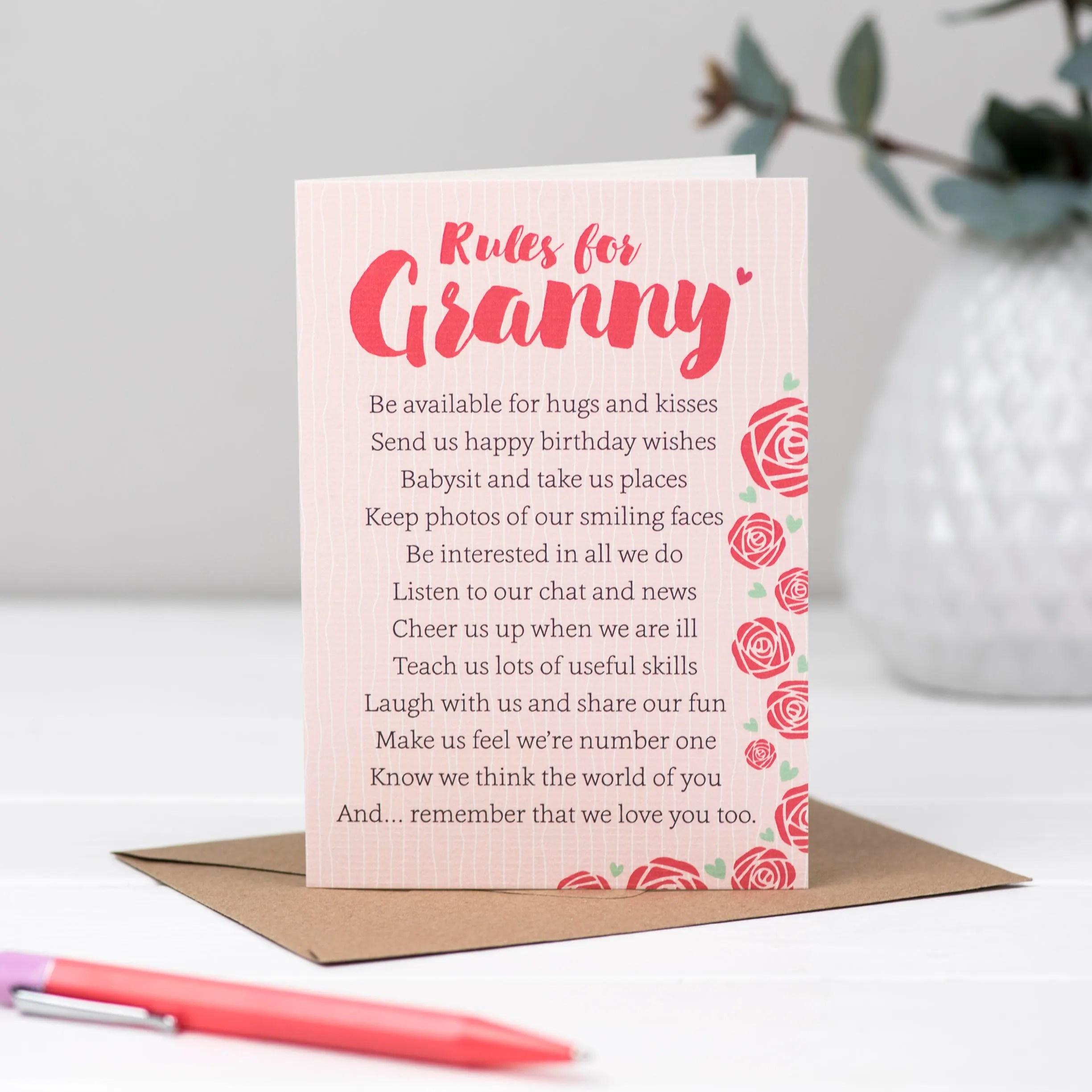 Oma Regeln Fur Oma Gedicht Karte Oma Geburtstag Karte Etsy