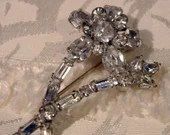 Vintage Cut Glass Crystal Rhinestones Flowers on Silver Tone Pin Brooch 1950s