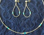 Vintage Sterling Silver and Turquoise Choker Necklace & Dangle Hoop Earrings Boho Hippie Tribal Festival Jewelry Beautiful 1970s