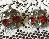 Vintage Sparkling Ruby Red & Diamond-Clear Large Rhinestones on Silver-Tone Rope Clip On Earrings 1960s Stunning!