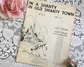 Vintage 1932 In A Shanty in OLD SHANTY TOWN Sheet Music Harris Black & White Cover Art Words Joe Young Music John Siras Little Jack Little