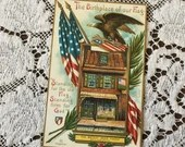 Antique Vintage 1910 Birthplace of our Flag Patriotic Greeting Postcard 1910s American Revolutionary War Betsy Ross House Philadelphia Eagle