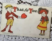 Antique Vintage 1904 That's For You Valentine Victorian Greetings Undivided Postcard 1900s Boy and Girl Love Romance Heart
