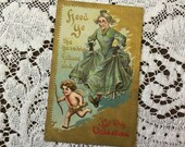 Antique Vintage 1911 Be My Valentine Embossed Greetings Postcard 1910s Cupid Arrow Cherub Love Romance