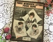 Antique Vintage 1918 SHEET MUSIC Three Wonderful Letters From Home WWI Barbelle Cover Art 1910s Words Goodwin & McDonald Music James Hanley