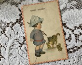 Antique 1914 Edwardian Color Art Postcard Post Card 1900s Who's 'Fraid? 3 Cute Kittens & Momma Cat with Little Boy Dressed up as a Soldier