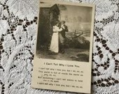Antique 1906 Edwardian Romantic Undivided Black and White Photo Postcard 1900s I Can't Tell Why I Love You Woman & Man Lovers A Garden Scene