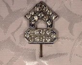Vintage Beautiful Rhinestones Diamante on Silver Tone Lapel Pin Brooch 1950s