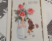 Vintage Happy Birthday Greetings Embossed Card & Envelope Unused 1940s 1950s Romantic Man Woman Colonial Dress Bouquet Vase of Pink Roses