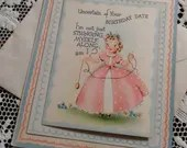 Vintage Happy Birthday Greetings Fold-Out Die-Cut Card & Envelope Unused 1940s 1950s Uncertain of Date Southern Belle Cute Colonial Girl