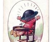 Vintage Comic Postcard World War I Military Baby with Doughboy Helmet Tin Hat Tempest 1917