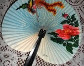 Vintage Folding Hand Fan Oriental Pink Cherry Blossoms Flowers with Flying Phoenix Bird in Blue Skies Made in China 1970s