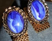 Vintage Cobalt Blue & White Marble Oval Cabochon on Gold Tone Laurel Wreath Mens Shirt Cuff Links Cufflinks 1960s Stunning!