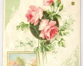 Antique Embossed Birthday Greetings Postcard Pink Roses & Country Home 1909