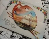 Vintage Happy Birthday Greeting Card & Envelope 1940s 1950s Unused Die Cut Artist's Palette of Wishes Mixed for You Galleon Ship at Sea