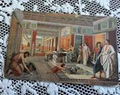 Antique Vintage Old Postcard Interior of a Roman House German American Novelty Art Series # 722 Printed in Germany c1910s Pool Togas Mosaics