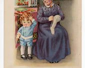 Antique Vintage Postcard Victorian Dress Grandma w Cute Little Boy Grandson Curly Ringlets Red Hair Cookies Early 1900s Scrapbooking Crafts