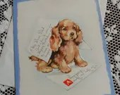 Vintage Happy Birthday My Dear Dad Greetings Embossed Card & Envelope Unused 1940s 1950s Cute Puppy Spaniel Dog Playing Ink Quill Pen Letter