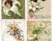 Lot of 4 Vintage Antique Embossed Easter Postcards with Lilies Cherubs Bells & Flowers 1909