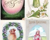 Lot of 4 Vintage Antique Embossed Easter Postcards with Girls Bunny Chicks & Eggs 1908