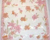 Vintage Chiffon Silky Polyester Scarf Shiny Pink Flowers on White Large Square Neck/Head Scarf Liz Claiborne 1960s