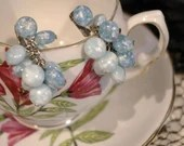 Vintage 1950s Cloudy Blue Bead Stone Dangle Chain Clip On Earrings with Silver Tone Backing