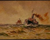Vintage Antique Art Painting Color Postcard 387 HK & M Two Shipping Boats on a Rough Sea Gorgeous Art! Artist signed c1900s