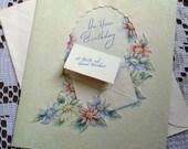 Vintage Happy Birthday Embossed Die Cut Spring Flowers Daisies Greeting Card & Envelope 1940s 1950s Unused On Your Birthday USA