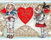 Antique Victorian Embossed Valentine Postcard with a Lace Heart Cute Kids & Adorable Puppy 1916