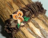 Vintage Brown Satin and Ruffled Lace Elasticated Garter with Orange & Brown Owl on a Green Tree Branch, Brown Ribbon Bow Gorgeous!