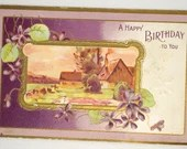 Antique Embossed Birthday Greetings Postcard Farm Scene Gold Edges Flowers 1909