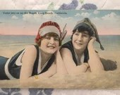 Vintage Antique Color Real Photo POSTCARD 1920 Flappers in Bathing Suits Come Join Us on the Beach Long Beach California 1920s