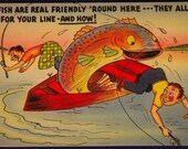Vintage 1950s  Comic Fishing Cartoon Linen Postcard #629 by Tichnor Bros Fish are Real Friendly 'Round Here! They Fall For Your Line!