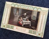 Antique Vintage 1910 Color Art Postcard THE LORD'S PRAYER 1900s Puritan Mother Making Bread scene Angel Watching Over