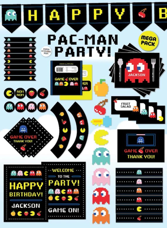 Pac Man Decorations Gaming Party Decorations Pac Man Etsy