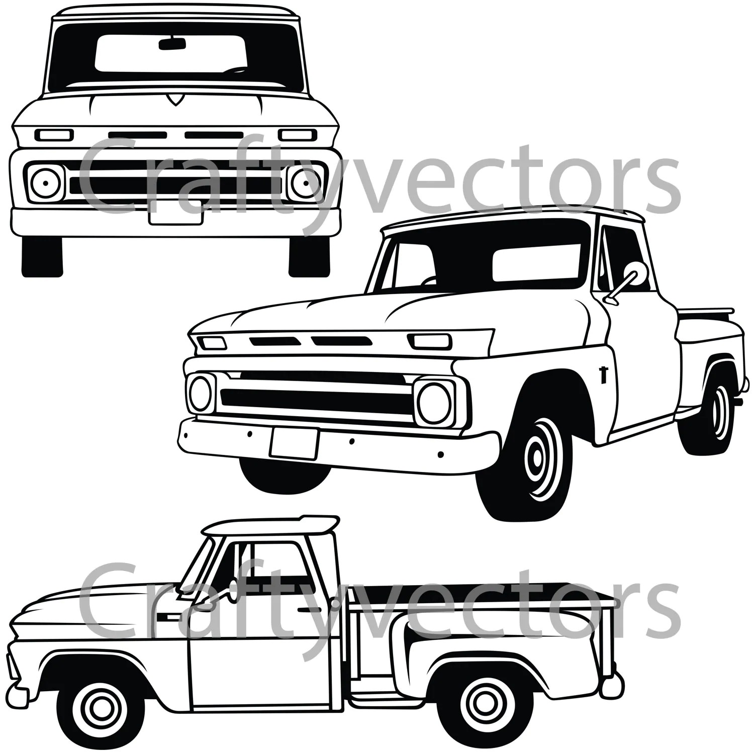 Chevy C10 Stepside 60 66 Vector File