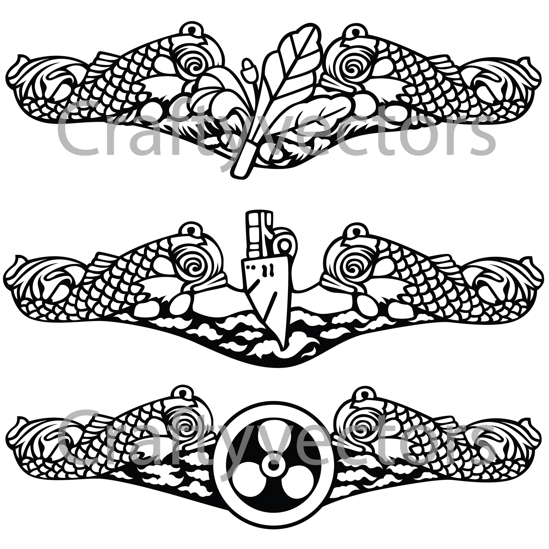 Submarine Naval Insignia Vector File