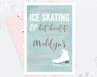 ice skate invitation etsy