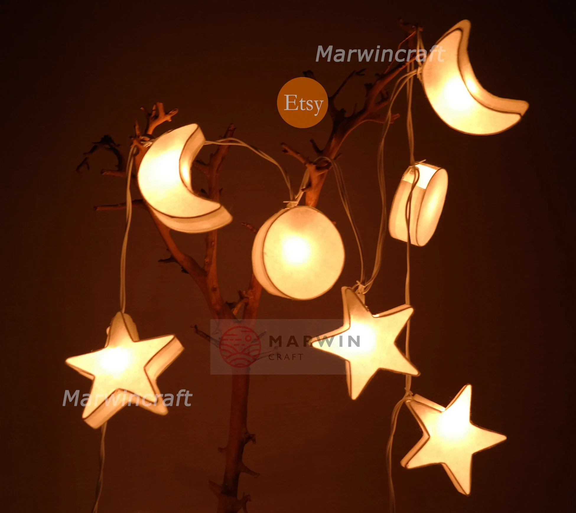 String lights   Etsy White String Lights Star Moon Paper Fairy Lights Bedroom Home Decor Living  Room Wall Hanging Lights Wedding Decor Dorm Lights Battery Plug