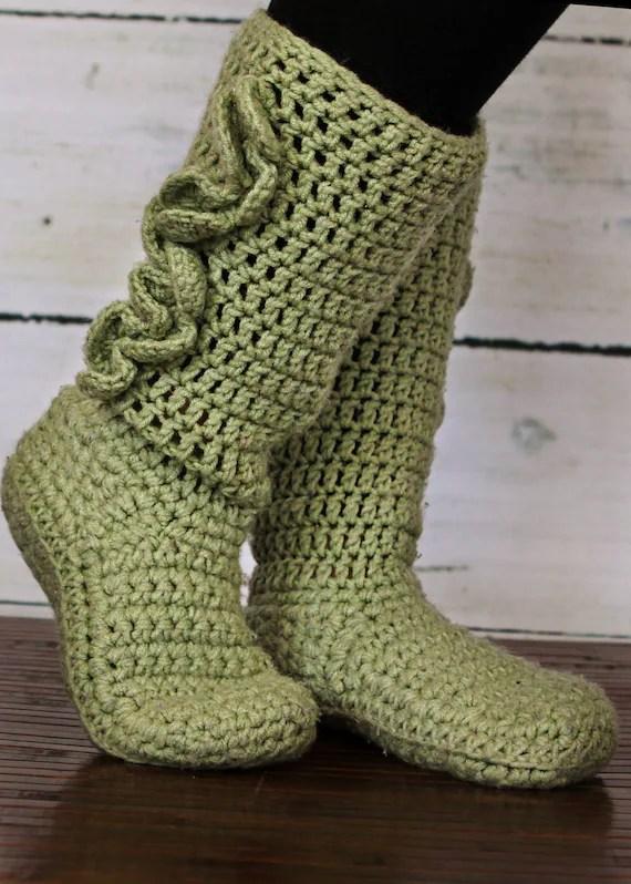 bottes chausson adulte fait au crochet