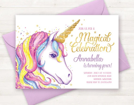 unicorn invitation unicorn birthday invitation unicorn party invite unicorn birthday party invitation printable unicorn invite watercolor
