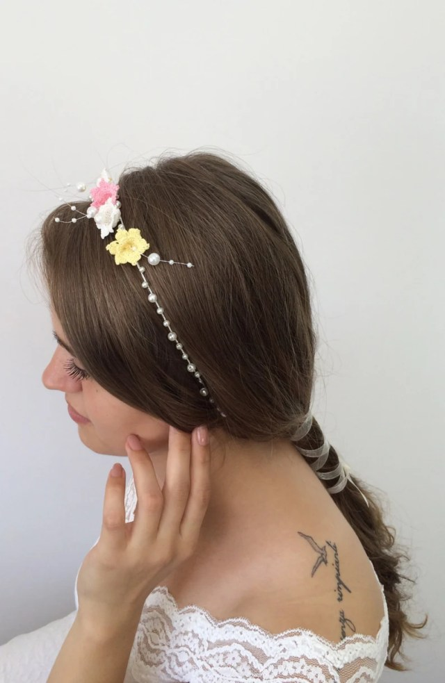 bridal hair jewelry, wedding boho headband, crochet headband, flower and pearl hairband, wedding hairpiece, bridesmaid headpiece, women gift