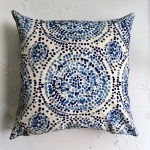 Blue Mosaic Floor Pillow Covers Extra Large Pillows 26x26 Blue Medallion Decorative Pillow Covers Mosaic Tile Pattern Custom Size Pillow
