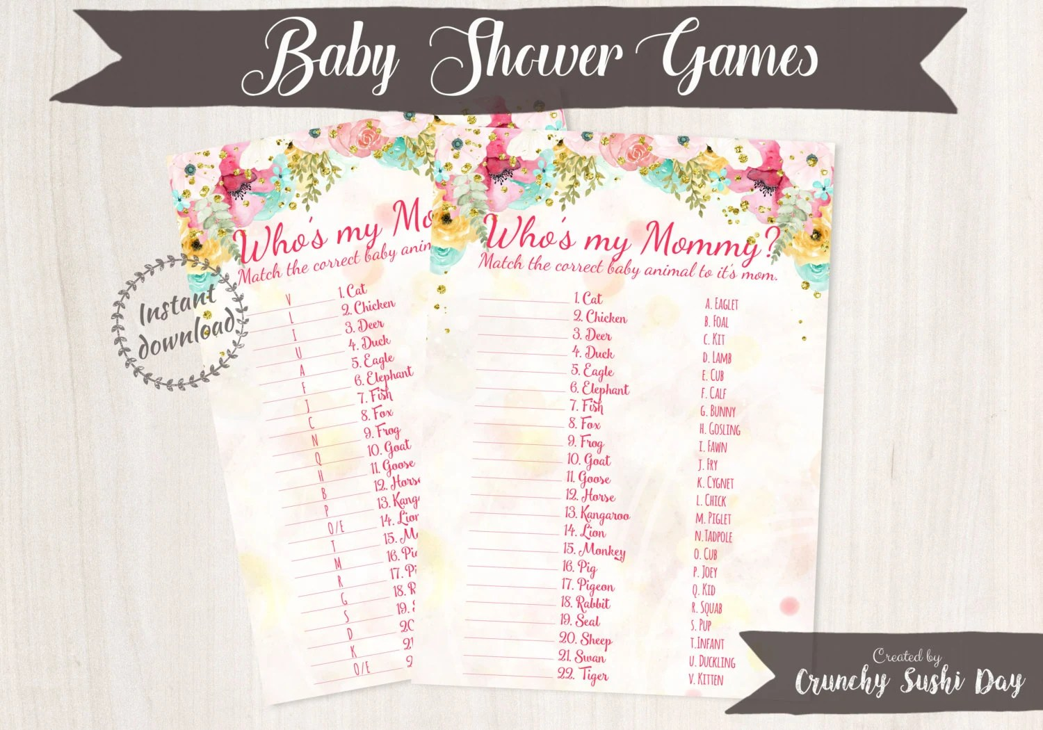 Printable Baby Shower Games Baby Animal Matching Floral