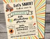 Roller Skate Party Invitation Skating Birthday Party Bridal or Baby Shower Wedding Digital File DIY